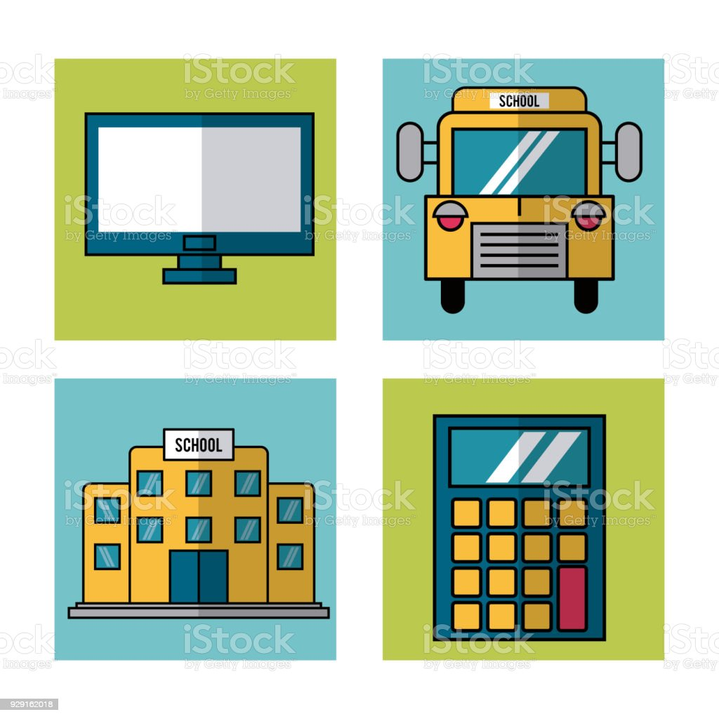White Background With Frames Of School Elements Bus And Computer And ...