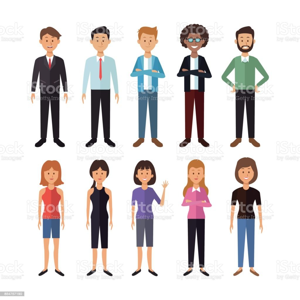 white background with full body group of men and women people of the world vector art illustration