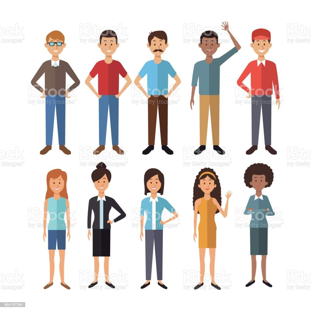 white background with full body group people of the world diversity vector art illustration
