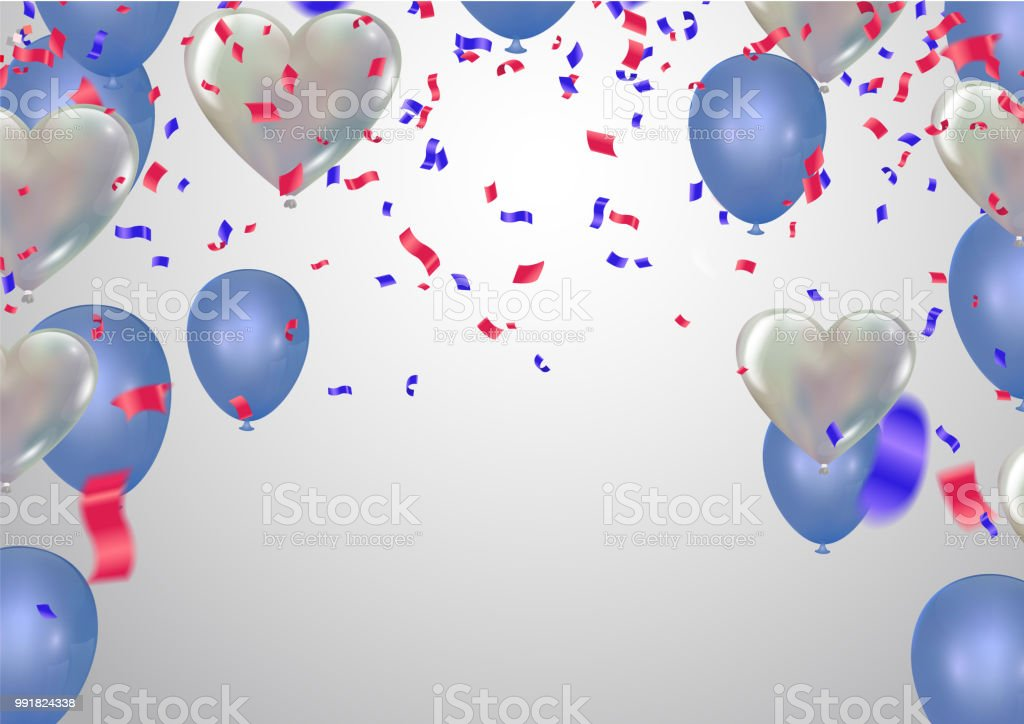 Weißer Hintergrund Mit Licht Blaue Ballons Und Herz Luftballons ...