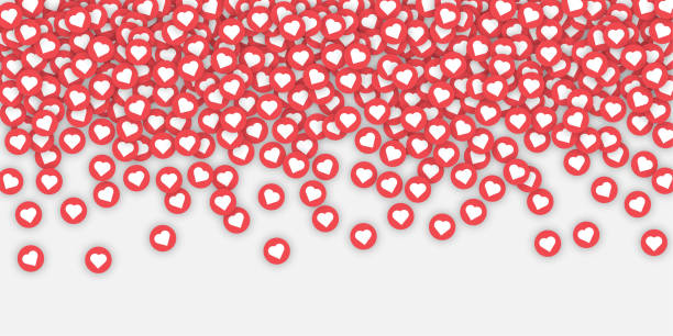 white background with likes and hearts. - kiss stock illustrations