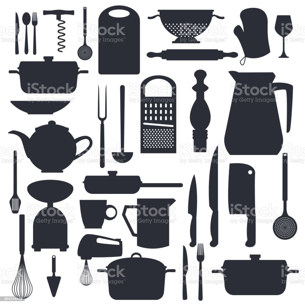 white background with monochrome silhouette different elements of kitchen vector art illustration