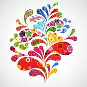Splash of floral and ornamental drops background.