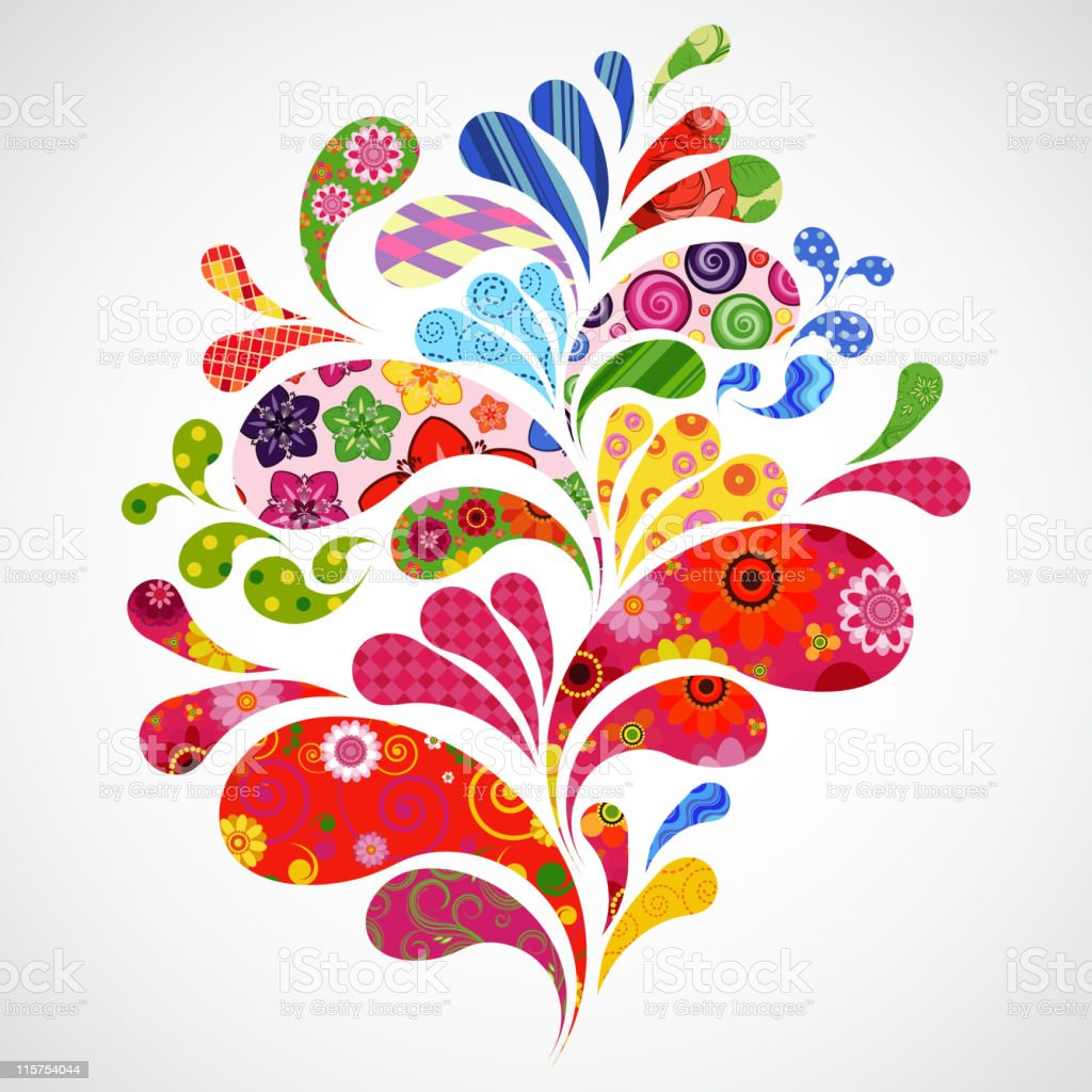 White background with multi colored floral splashes vector art illustration