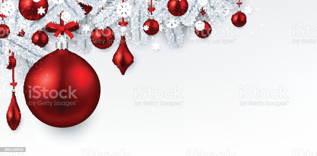 White Background With Red Christmas Ball Stock Vector Art More
