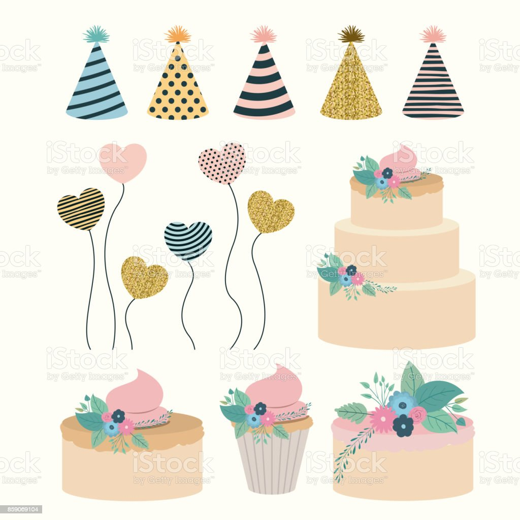 white background with set elements to party happy birthday vector art illustration