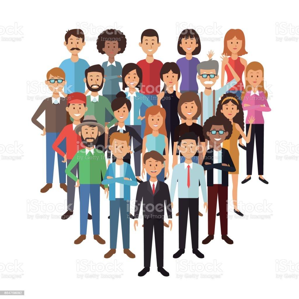 witte achtergrond met instellen volledige lichaam groep mensen permanent - Royalty-free Alleen volwassenen vectorkunst