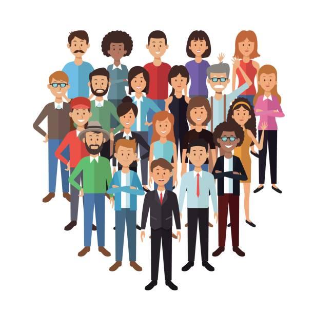 stockillustraties, clipart, cartoons en iconen met witte achtergrond met instellen volledige lichaam groep mensen permanent - curly brown hair