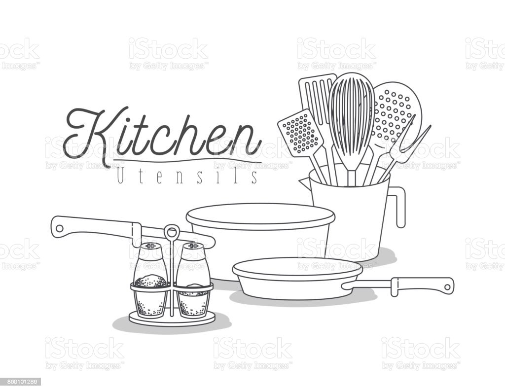 White Background With Set Silhouette Kitchen Utensils Stock Vector ...