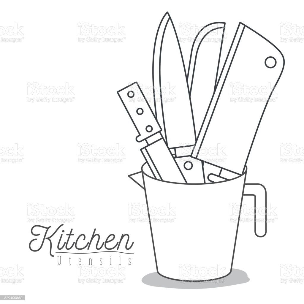 White Background With Set Silhouette Knifes Kitchen Utensils In Jar ...