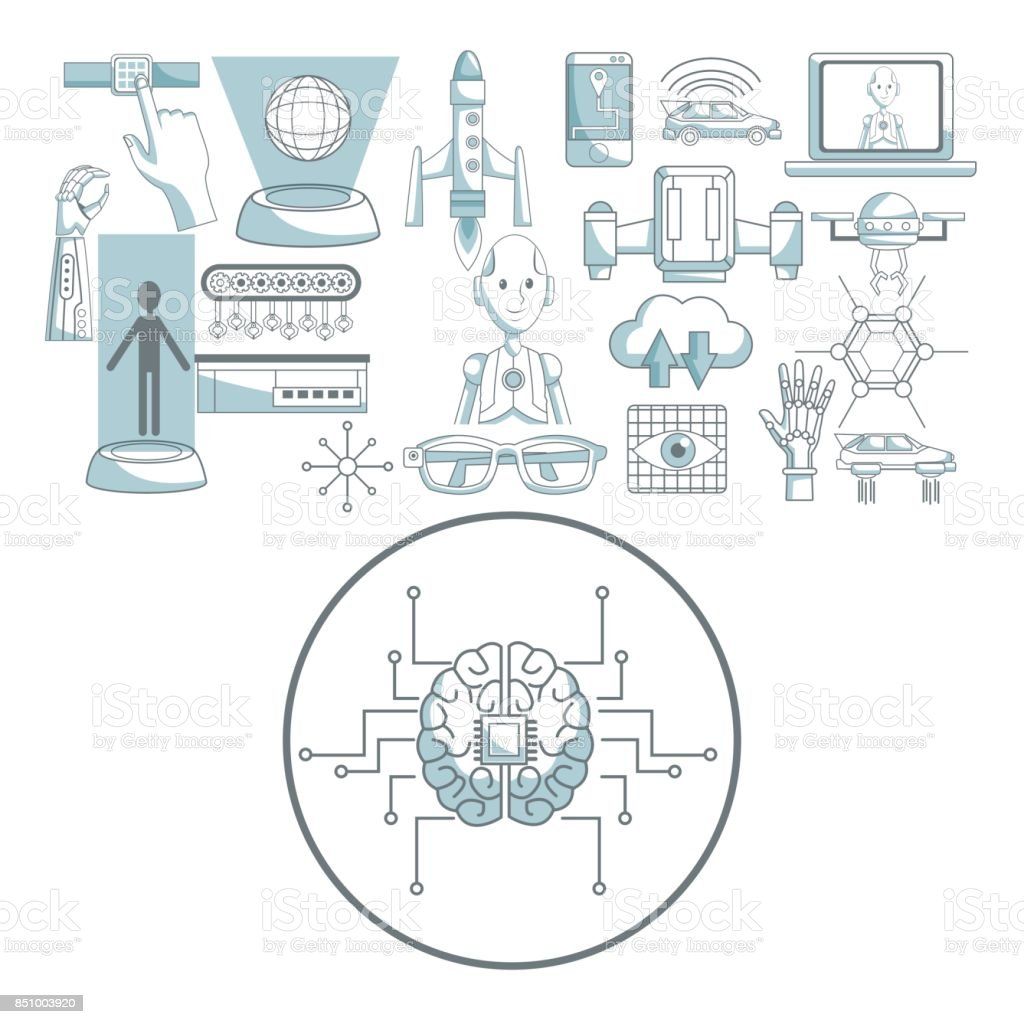 white background with silhouette color sections shading of circular frame brain with circuits and set icons tech futuristic objects in top vector art illustration