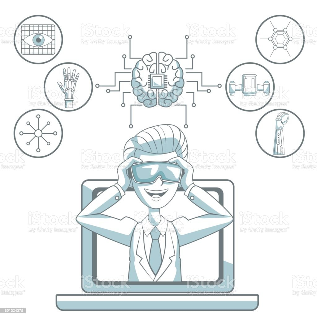 white background with silhouette color sections shading of man with virtual reality glasses leaving the laptop and icon elements futuristic vector art illustration