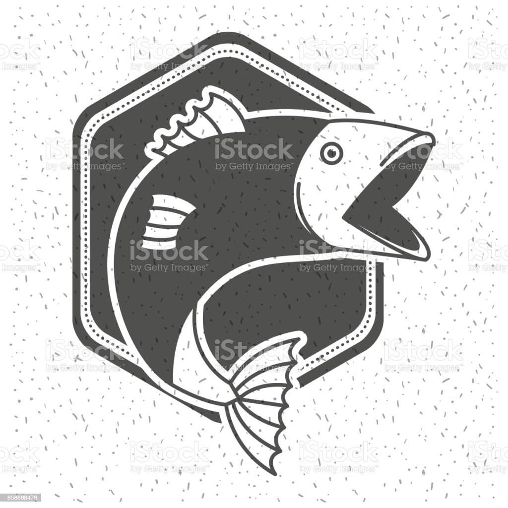 white background with sparkle of monochrome silhouette emblem with fish vector art illustration