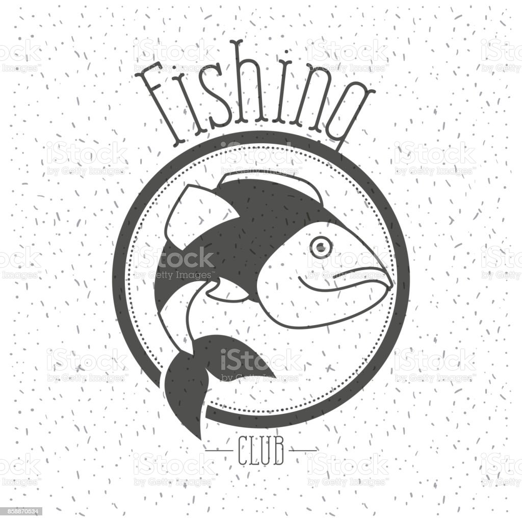 white background with sparkle of monochrome silhouette emblem with fish logo fishing club vector art illustration