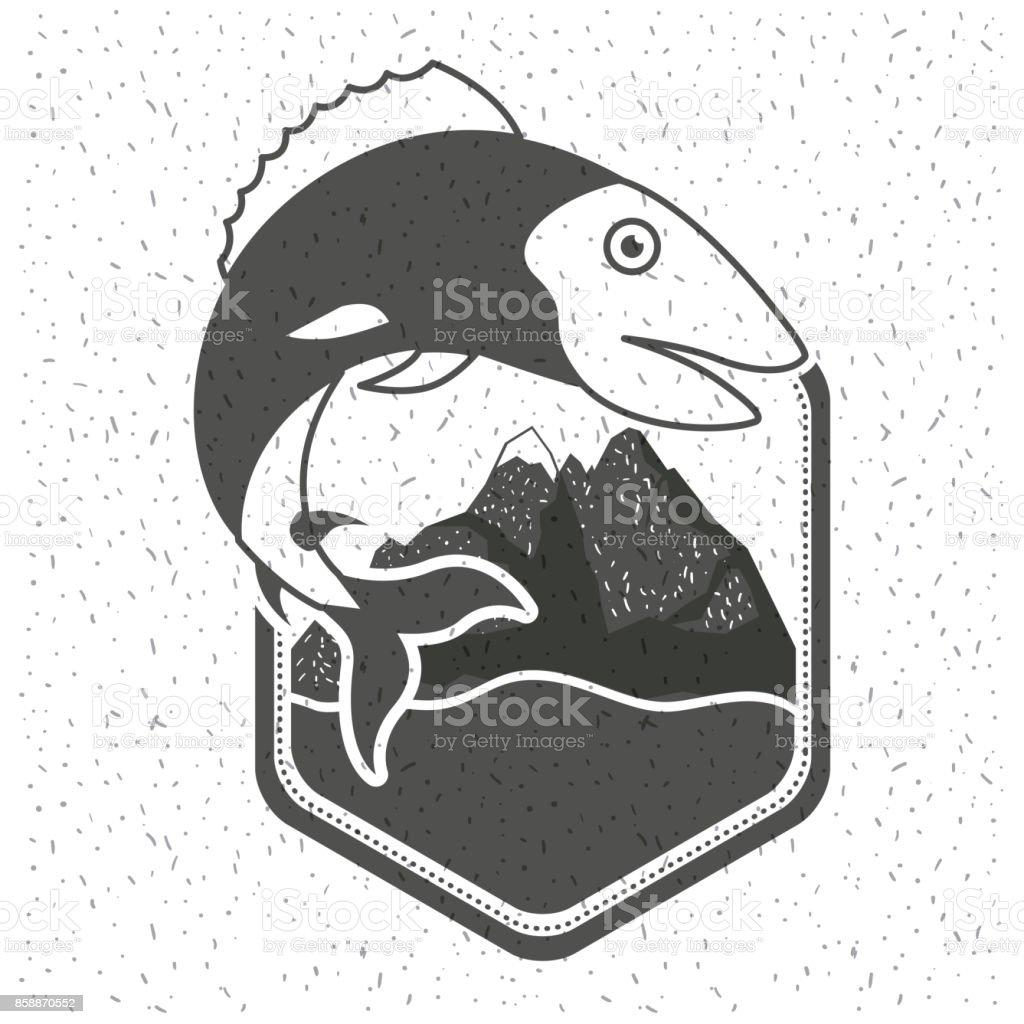 白の背景に魚がモノクロ シルエットのエンブレムと川と山の輝き