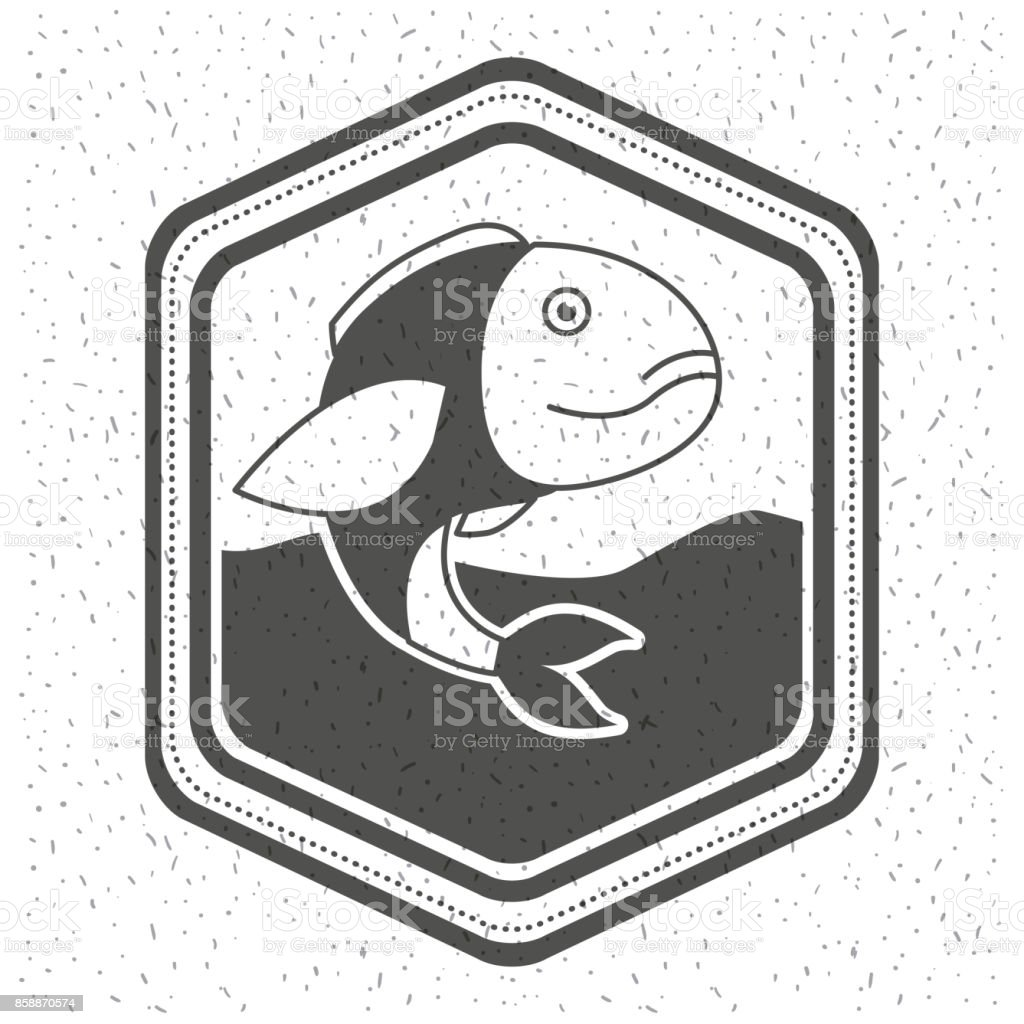 white background with sparkle of monochrome silhouette emblem with fish in the water vector art illustration