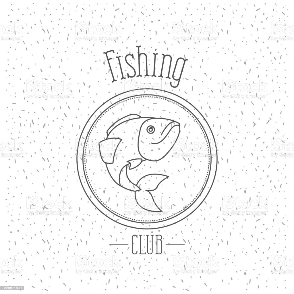 white background with sparkle of monochrome silhouette emblem with trout fish logo fishing club vector art illustration