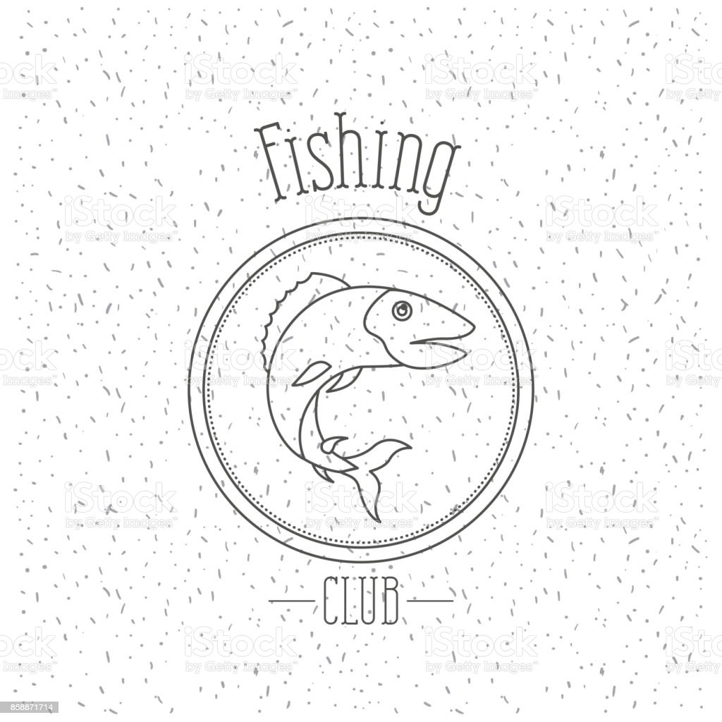 white background with sparkle of monochrome silhouette emblem with bass fish logo fishing club vector art illustration