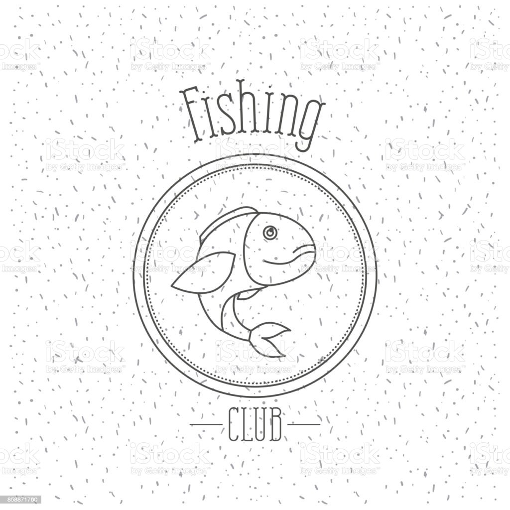 white background with sparkle of monochrome silhouette emblem with largemouth bass fish logo fishing club vector art illustration