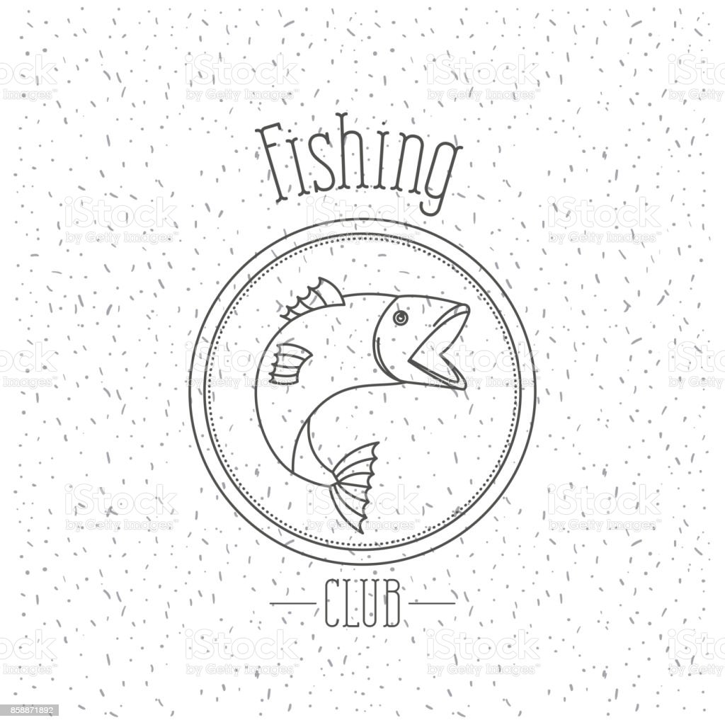 white background with sparkle of monochrome silhouette emblem with salmon bass fish logo fishing club vector art illustration
