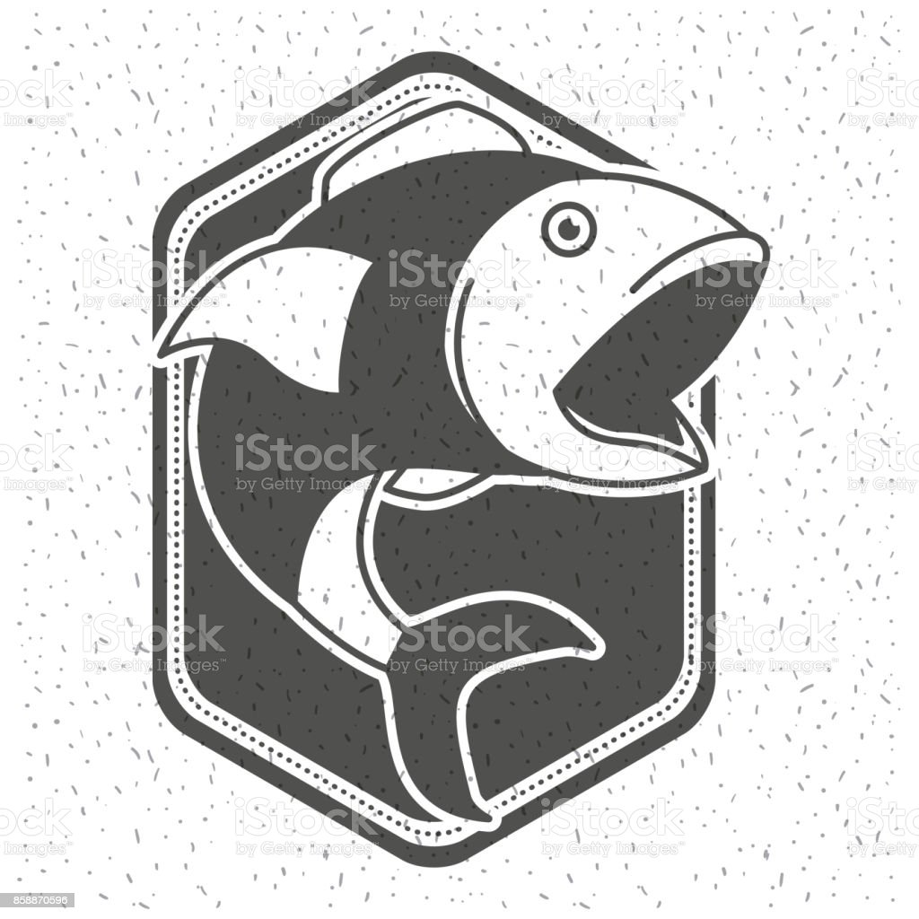 white background with sparkle of monochrome silhouette shield emblem with fish open big mouth vector art illustration