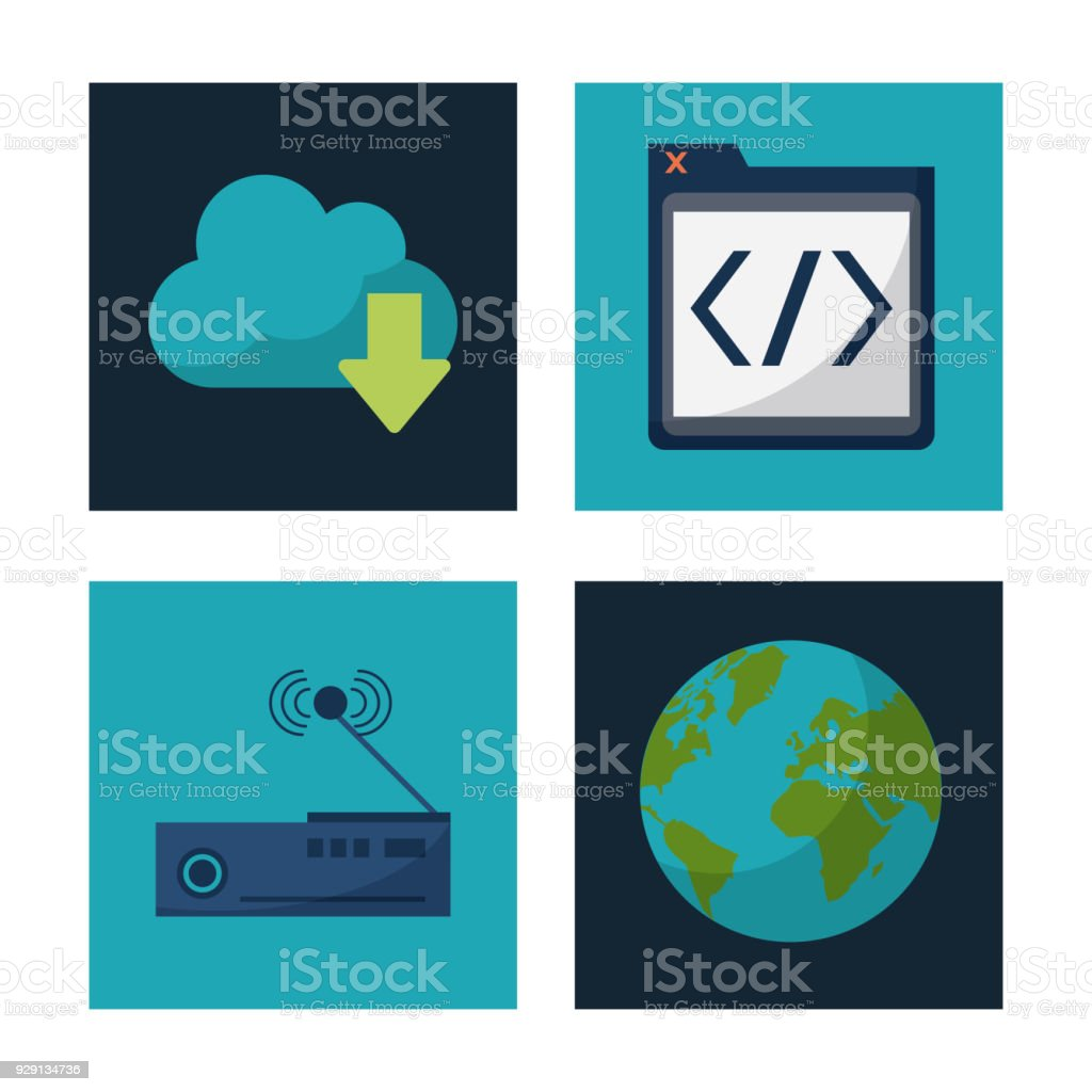 White Background With Square Frames Graphics Of Cloud Service And ...