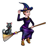 Witch and cat friendly Halloween cartoon characters flying on a broomstick
