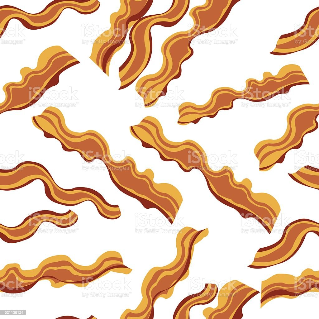 White bacon vector textile print food seamless pattern. vector art illustration