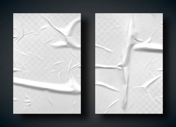 주름과 주름흰색 나쁜 접착 용지 - 주름 stock illustrations