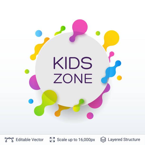White badge Kids Zone sticker. vector art illustration