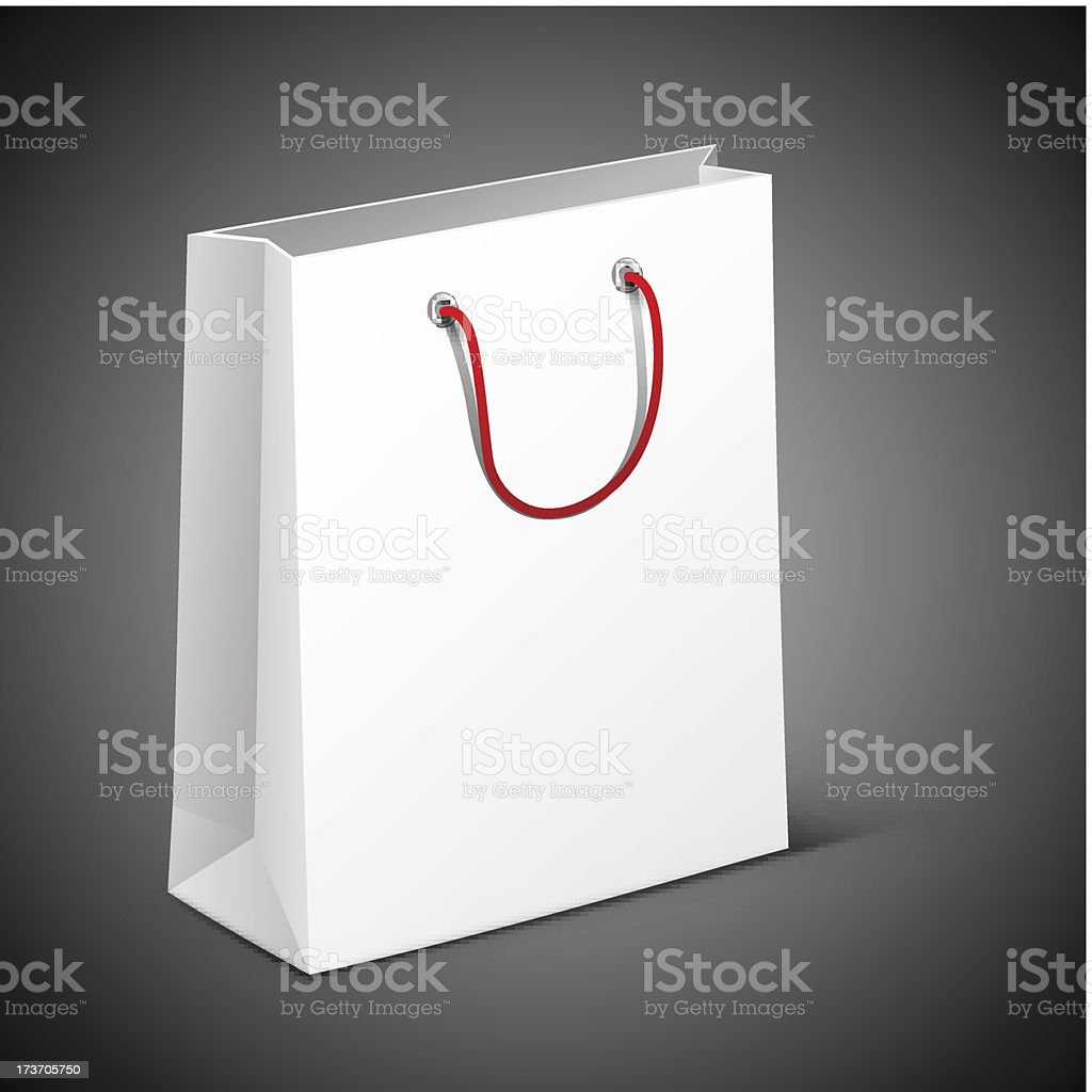 White bag with a red handle royalty-free stock vector art
