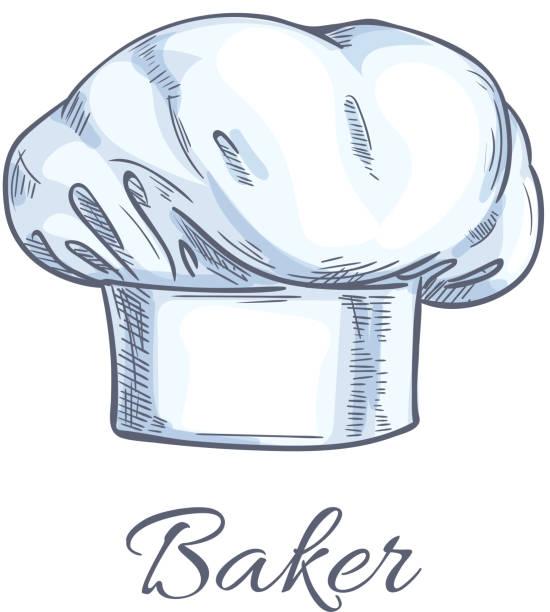 illustrations, cliparts, dessins animés et icônes de white baker toque or chef hat sketch - boulanger