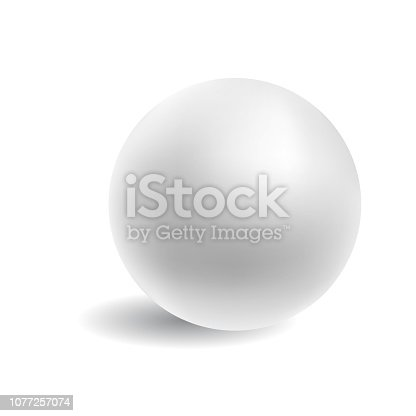 White matte realistic ball on isolated background. Vector illustration