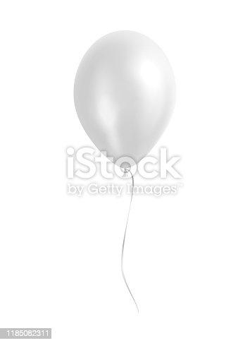 Vector white balloon with silver ribbon.
