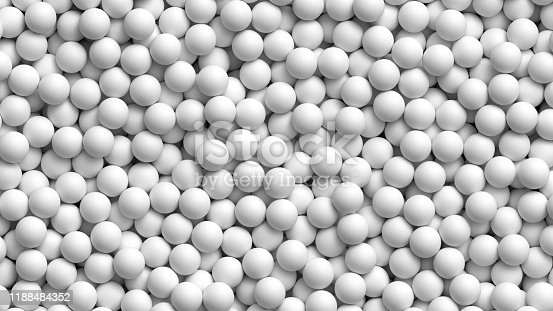 Lot of soft white balls. Pile of white balls for children at the playground or table tennis balls. Realistic vector background