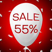 White Baloon with text Sale Fifty five 55 percent Discounts. SALE concept for shops store market, web and other commerce. Vector illustration