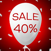 White Baloon with text Sale Forty 40 percent Discounts. SALE concept for shops store market, web and other commerce. Vector illustration
