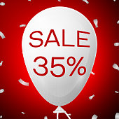 White Baloon with text Sale Thirty five 35 percent Discounts. SALE concept for shops store market, web and other commerce. Vector illustration