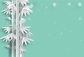White Bamboo tree in paper cut art style on Blue mint Background for Chinese New year greeting card Concept