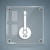 White Banjo icon isolated on grey background. Musical instrument. Square glass panels. Vector Illustration
