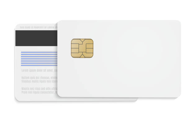 white  bank card  blank.  vector mock up  for your design. - credit cards stock illustrations, clip art, cartoons, & icons