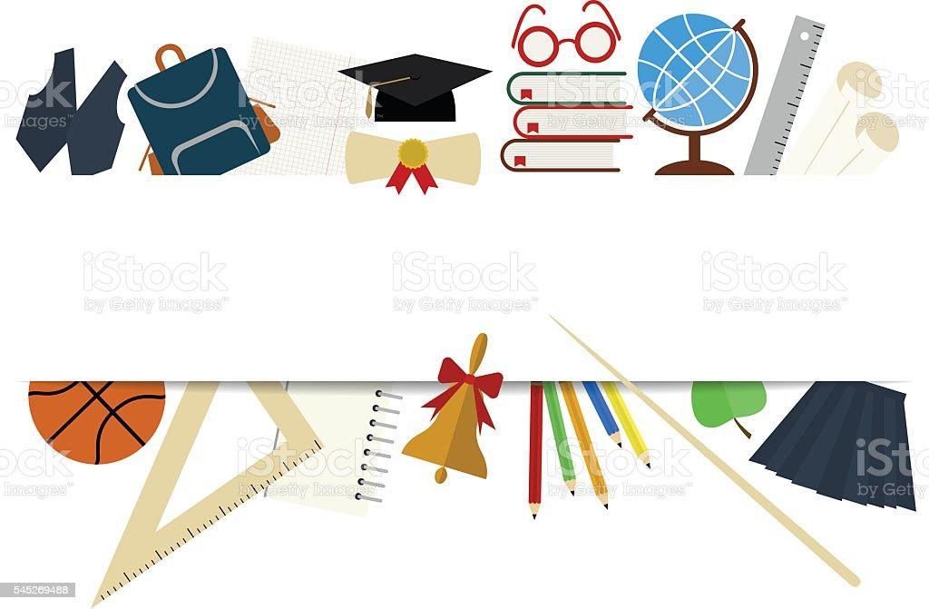 Ilustración de White Banner Back To School y más banco de imágenes ...