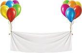 White festive banner with balloons. Vector illustration.