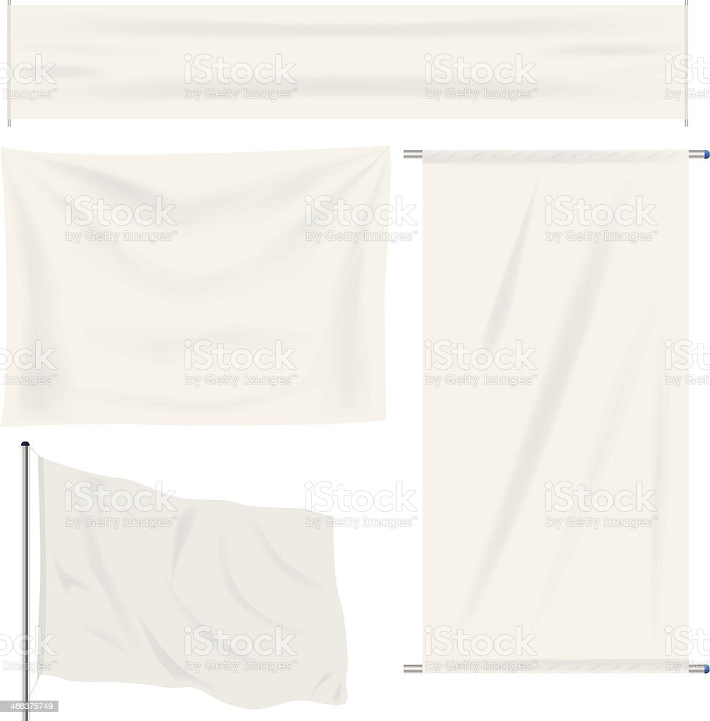 White banner with folds vector art illustration
