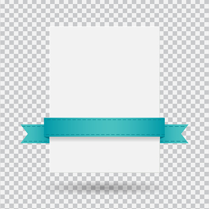 White banner with ribbon