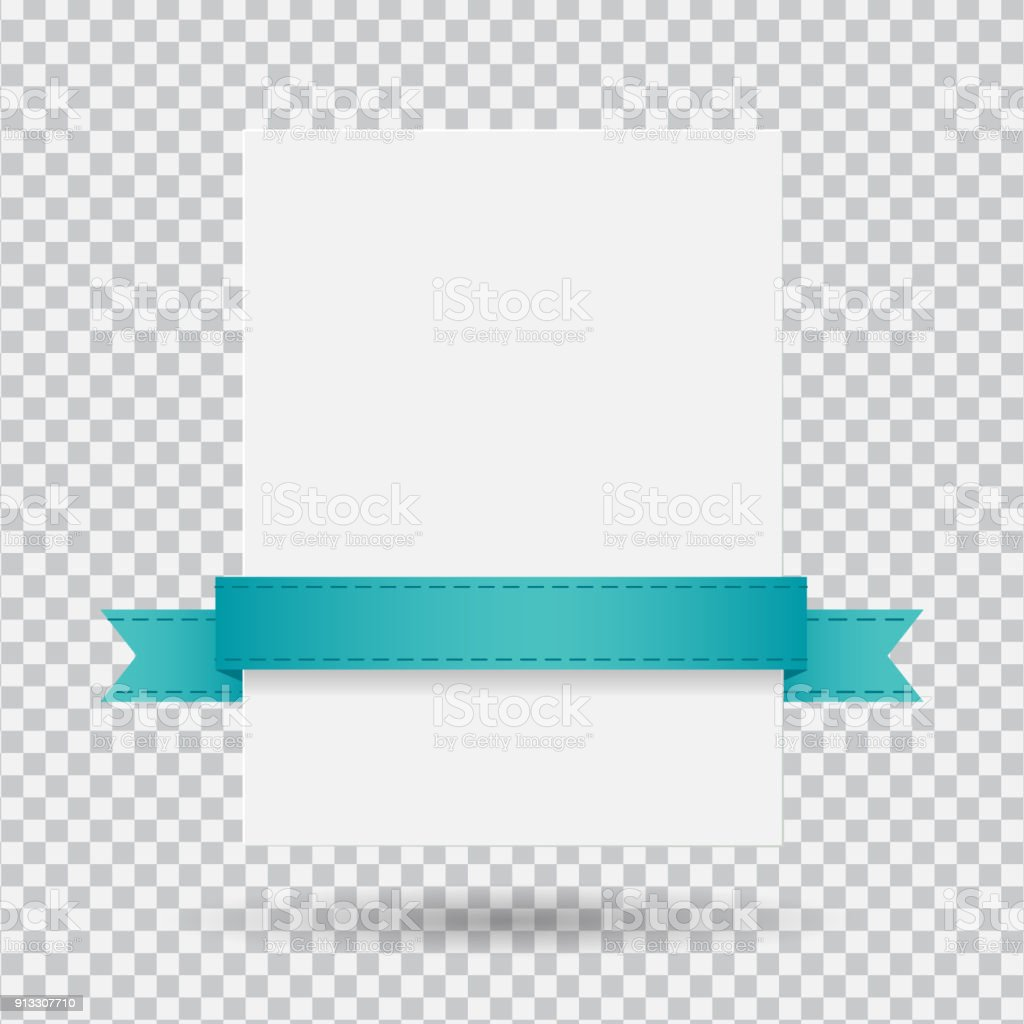 White banner with ribbon vector art illustration