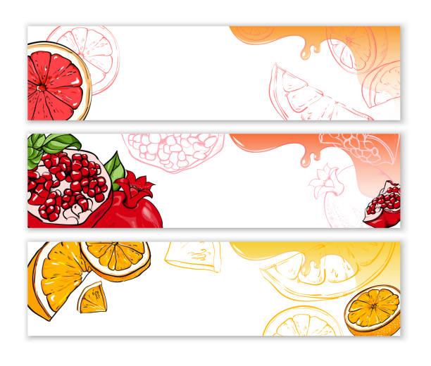 ホワイトは、エキゾチックなフルーツをバナーします。 - グレープフルーツ点のイラスト素材/クリップアート素材/マンガ素材/アイコン素材