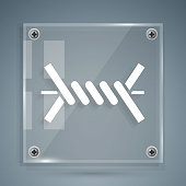 White Barbed wire icon isolated on grey background. Square glass panels. Vector Illustration