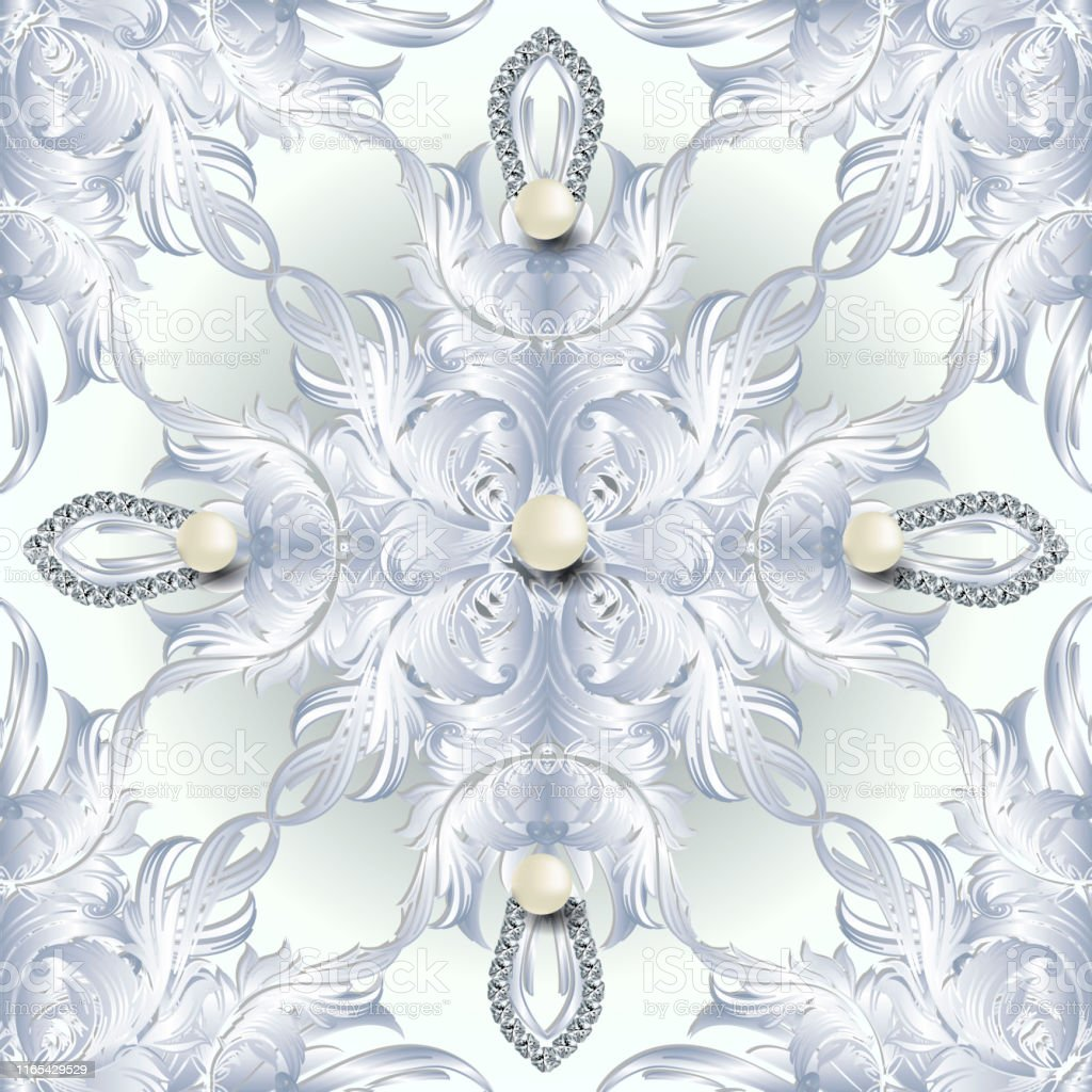 white baroque 3d seamless pattern vector damask jewelry background 3d vector id1165429529