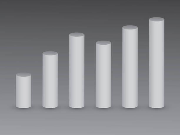 3d weiße balken auf schwarzem hintergrund zeigt wachstum und wertschöpfung - zylinder stock-grafiken, -clipart, -cartoons und -symbole